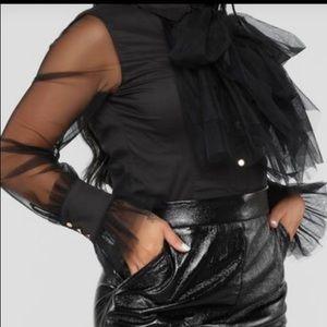 Tops - Mesh ruffles blouse black